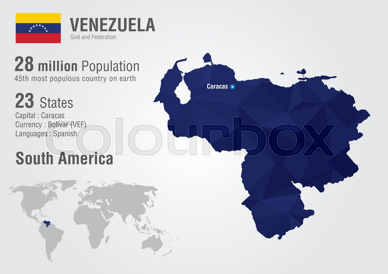 Venezuela world map with a pixel diamond texture. World Geography ...