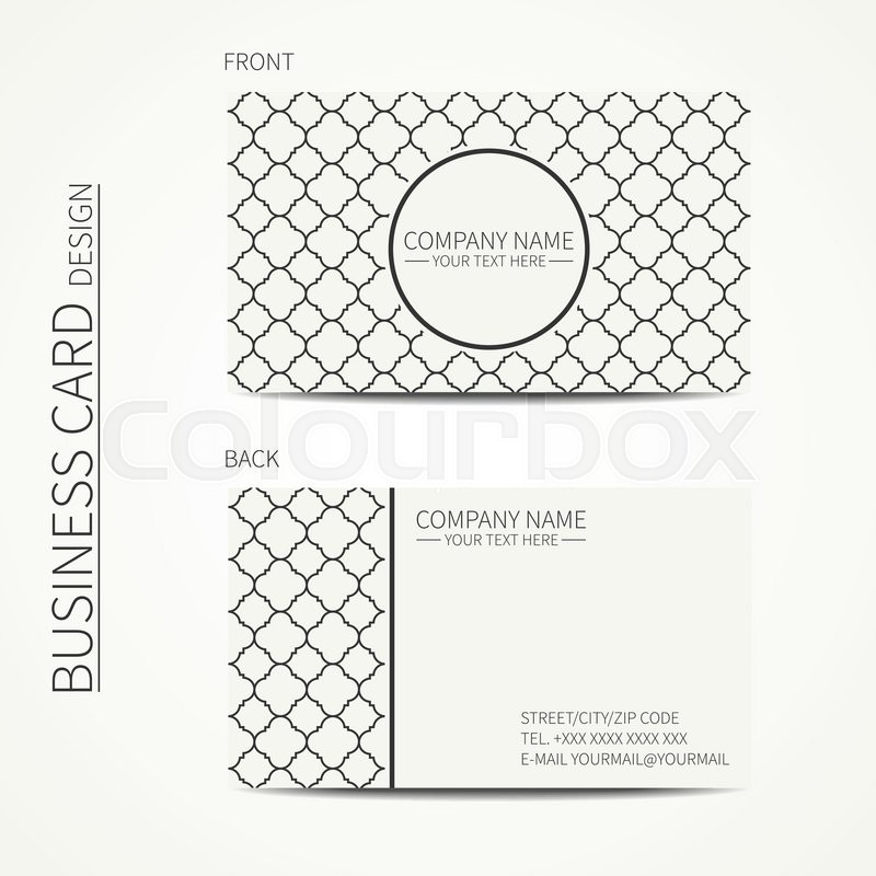 Geometric lattice monochrome business card template with stars for ...