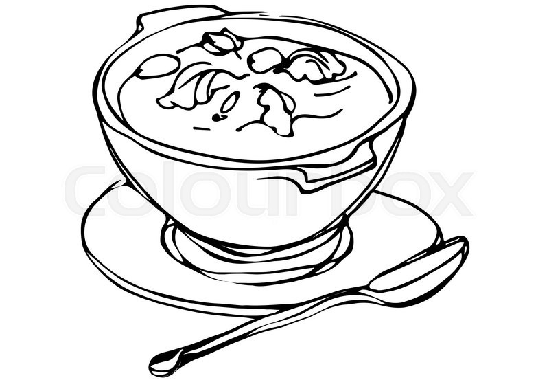 Vector Sketch Of A Bowl Of Soup With Stock Vector