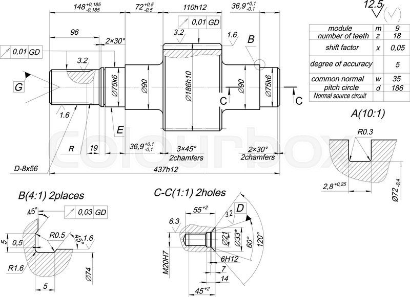 Drawing Lines In Autocad Using Bearings : Sketch of shaft with hatching engineering drawing