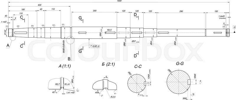 Drawing Lines With Measurements : Expanded sketch of shaft with measure and hatching