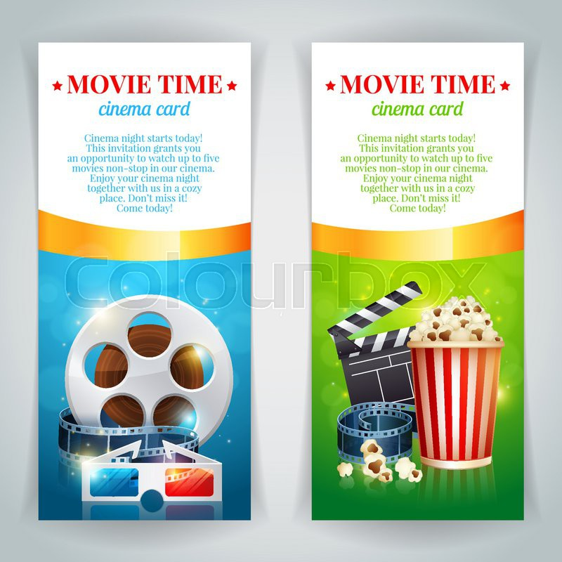 Realistic Cinema Movie Poster Template With Film Reel Clapper Popcorn 3D Glasses Conceptbanners Bokeh