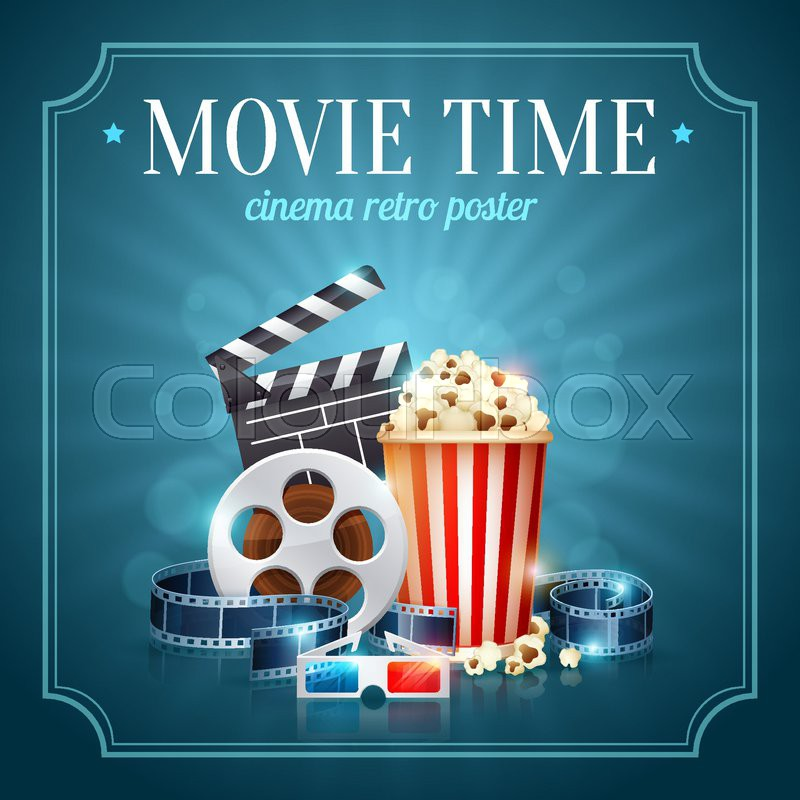 Realistic Cinema Movie Poster Template With Film Reel Clapper Popcorn 3D Glasses Conceptbanners Bokeh Vector