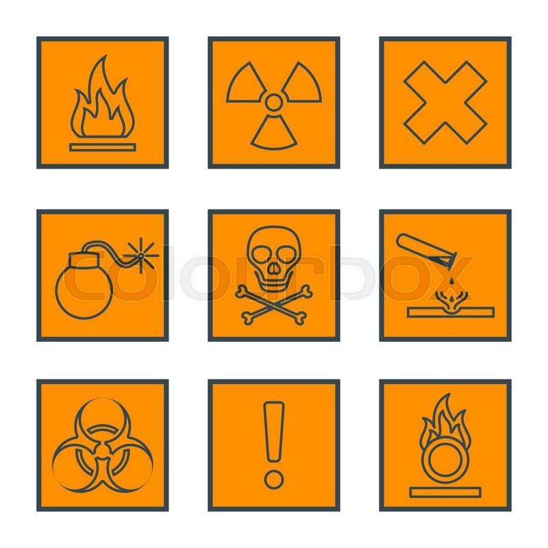 Vector Orange Square Black Outline Hazardous Waste Symbols Warning