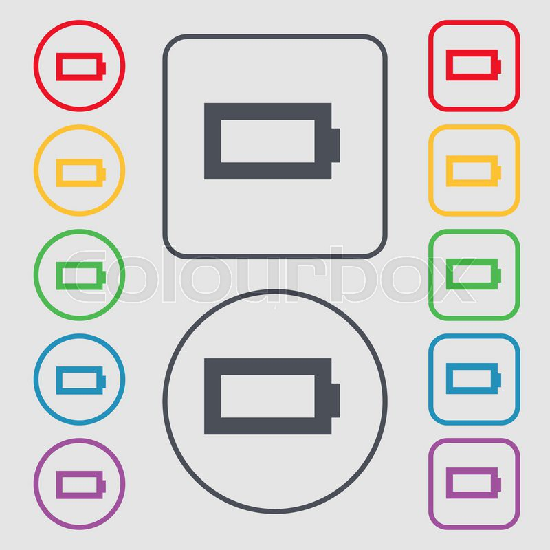 Battery Empty Icon Sign Symbol On The Round And Square Buttons With