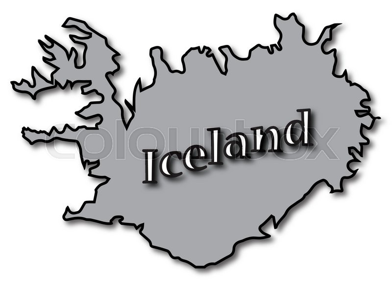 An Iceland map with text and a shadow isolated on a white background ...