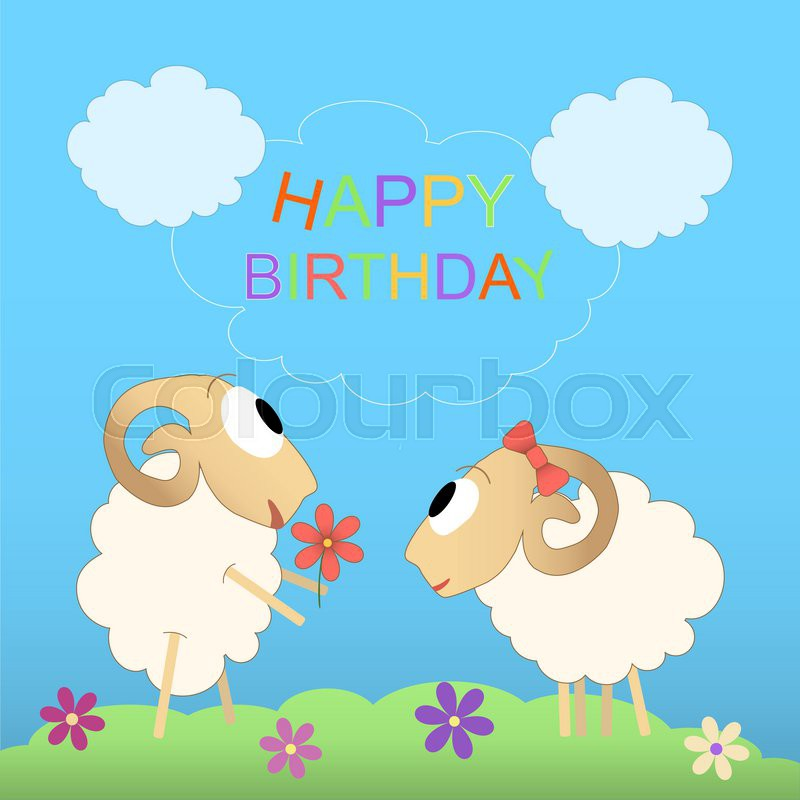 Happy Birthday Cute Card With Funny Sheep Stock Vector Colourbox