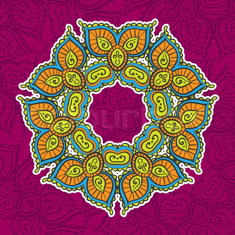 Colored vintage circular pattern of indian, excellent ...