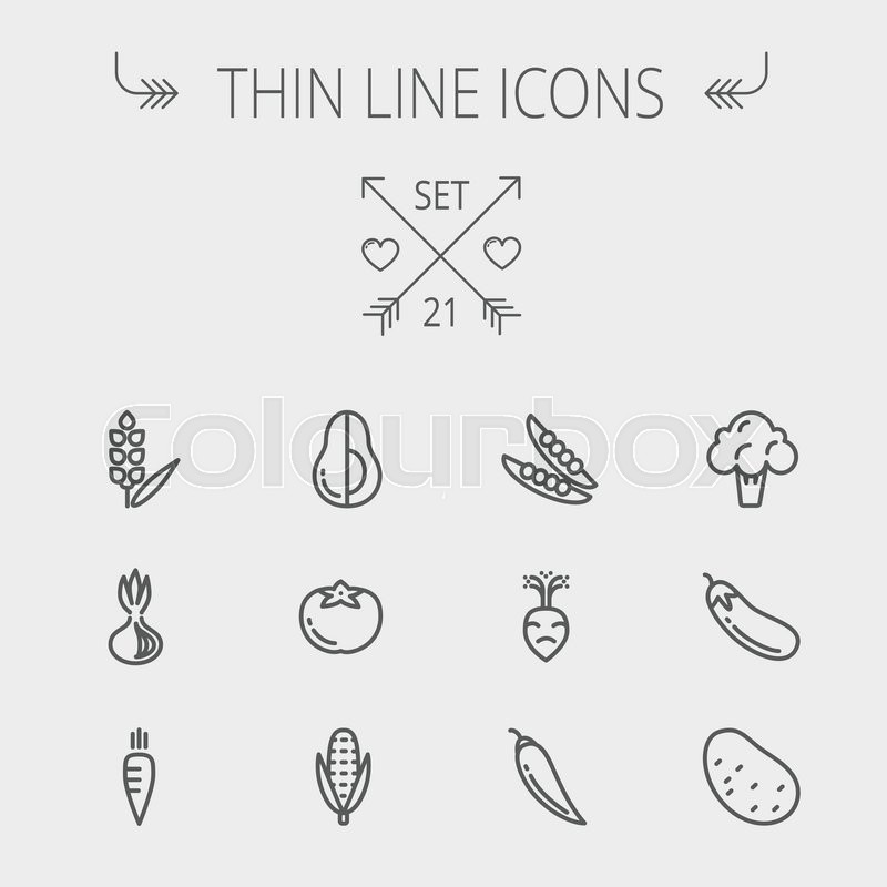 Food And Drink Thin Line Icon Set For Web And Mobile. Set