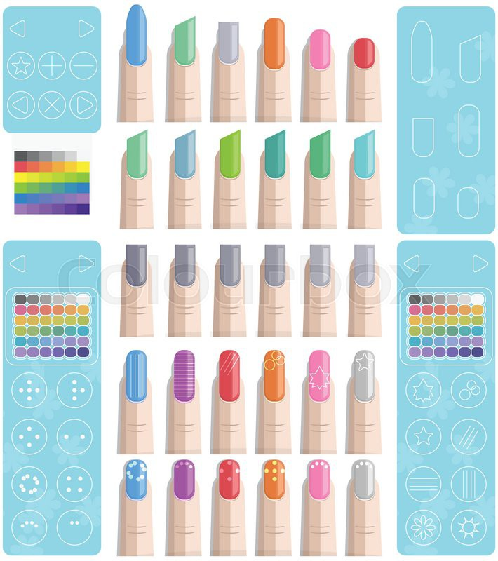 Nail Polish Art Template (For Mobile Apps/Games or Web) | Stock ...
