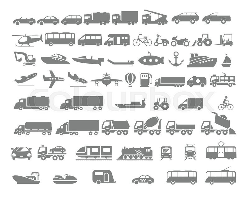 Vehicle and Transportation flat icon set. Vector flat design illustration. , vector