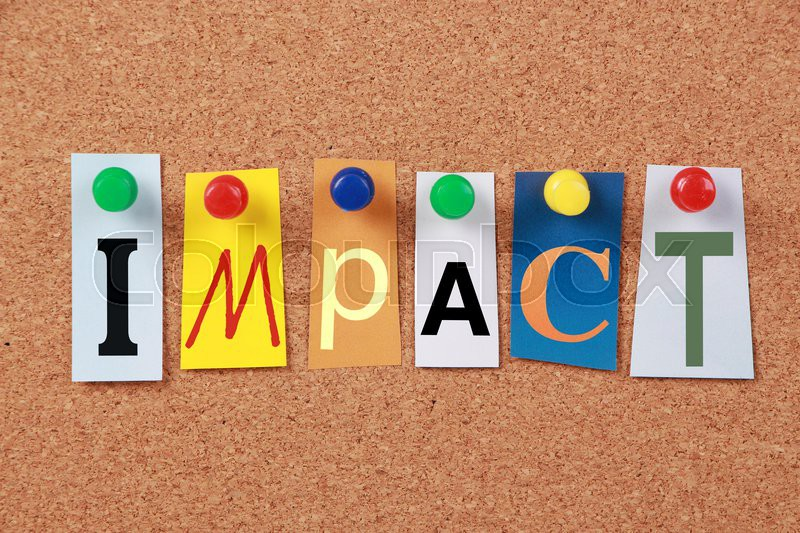 The word impact in cut out magazine letters pinned to a corkboard the word impact in cut out magazine letters pinned to a corkboard stock photo colourbox spiritdancerdesigns Choice Image