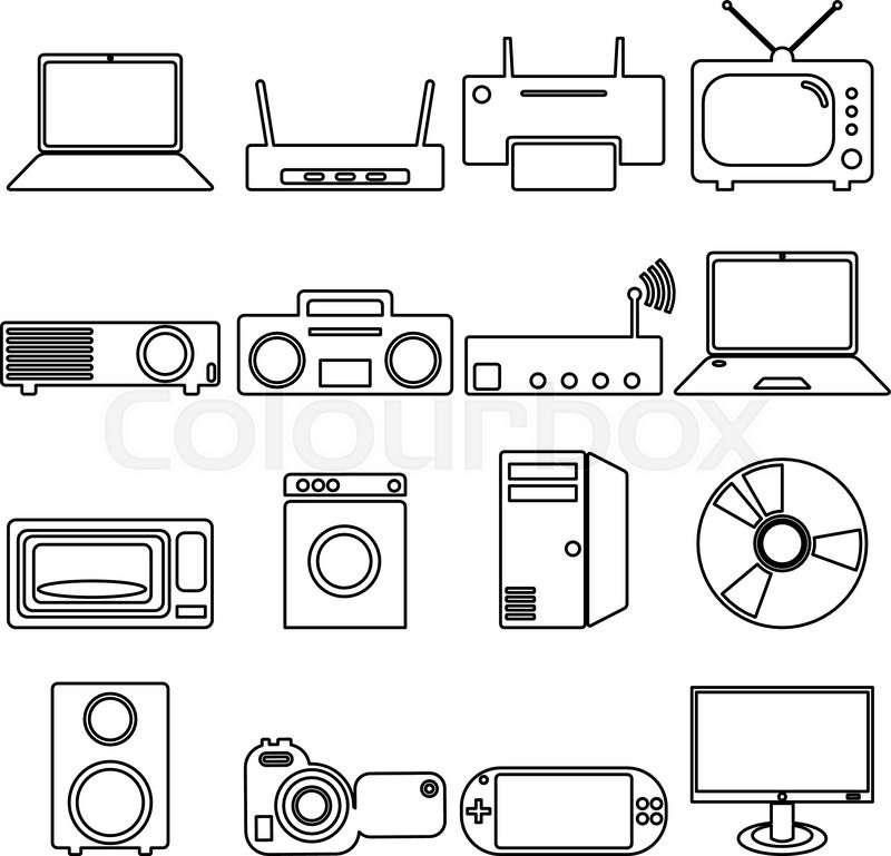 Collection flat icons with long shadow. Electrical devices symbols ...