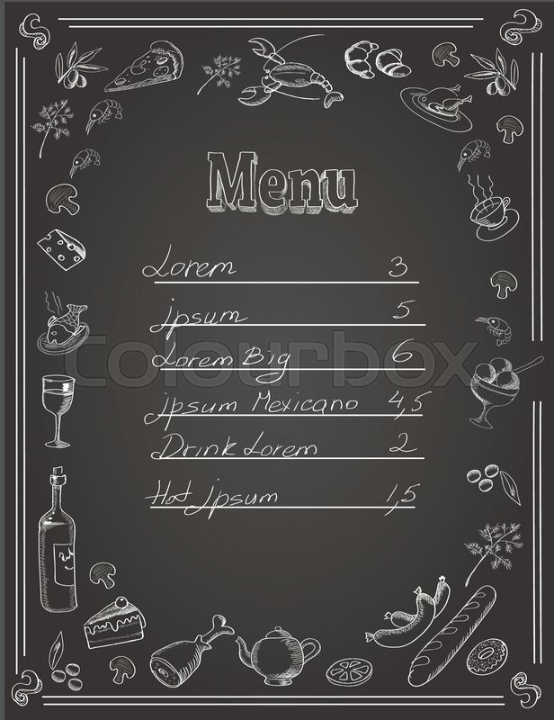 Restaurant Food Menu Design With Chalkboard Background And