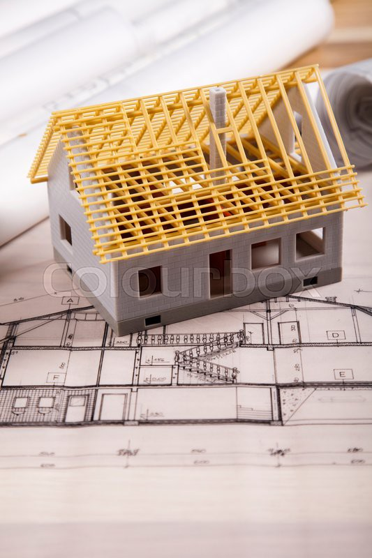 Architectural plans, natural colorful tone, stock photo
