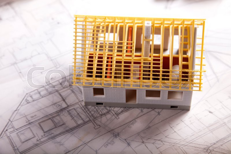 House plan blueprints, natural colorful tone, stock photo
