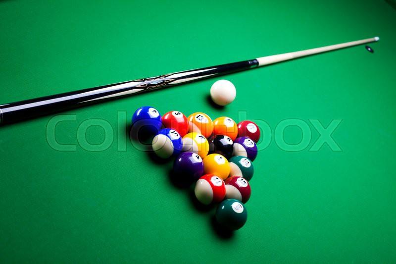Billiard game, vivid colors, natural tone, stock photo