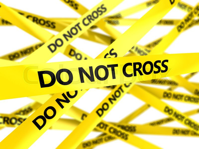3d illustration of yellow tape with do not cross sign blured