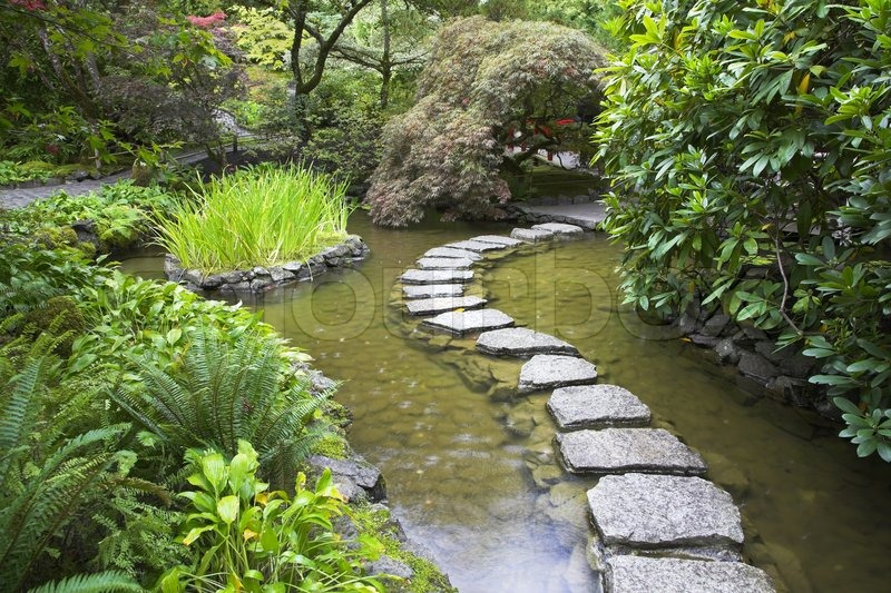 A footpath from stones laid with brick through a fine pond for Japanese meditation garden