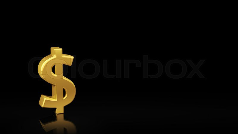 Gold Usd Symbol On Black Background With Reflection And Copyspace