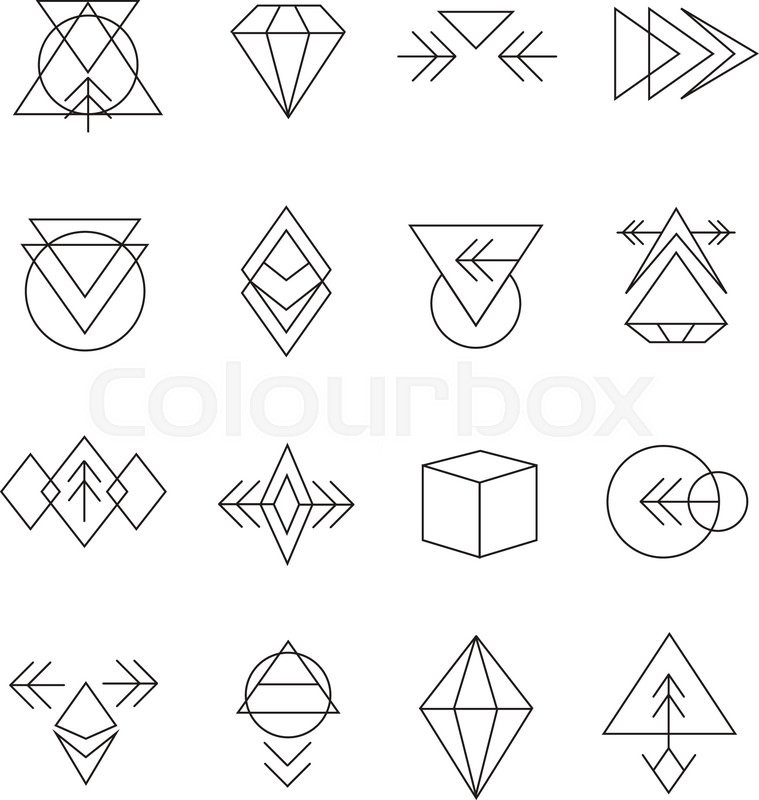 Line Art Logo Maker : Abstract geometric set with hipster style icons for logo