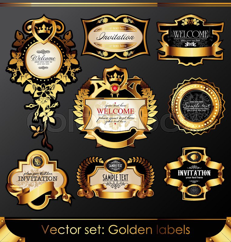 4be15d2c887 Stock vector of  Vector set of beautiful black gold-framed labels