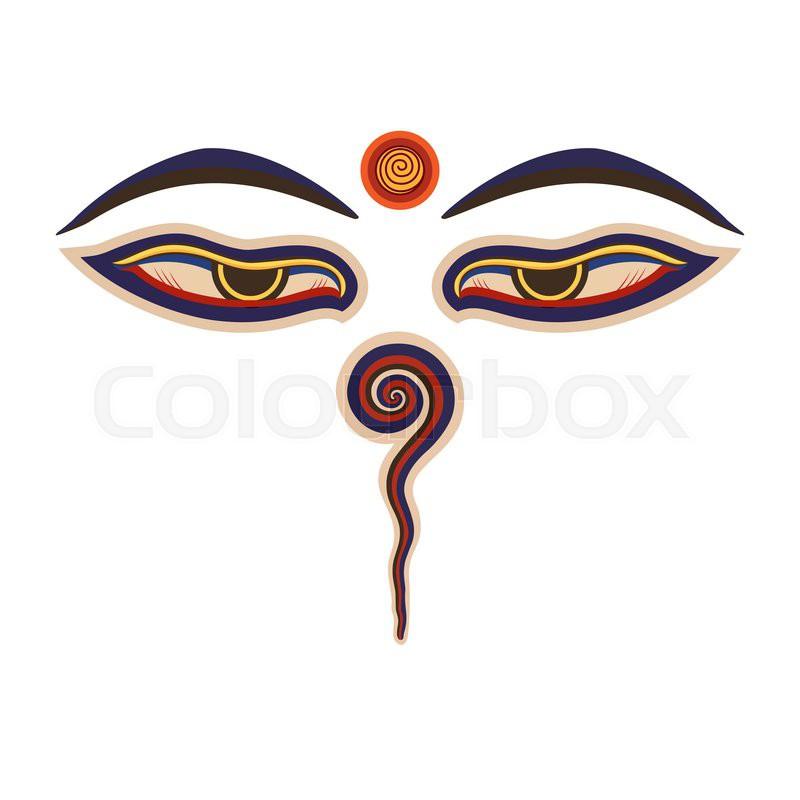 Buddha Eyes Of The Nepal Ctor Eps10 Stock Vector Colourbox