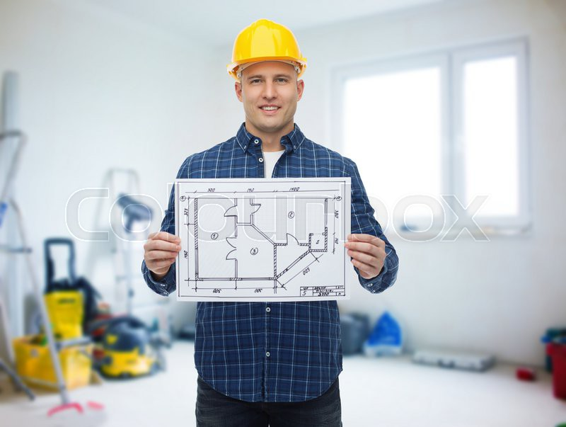 Repair construction building people and maintenance concept repair construction building people and maintenance concept smiling male builder or manual worker in helmet showing blueprint over room with work malvernweather Images