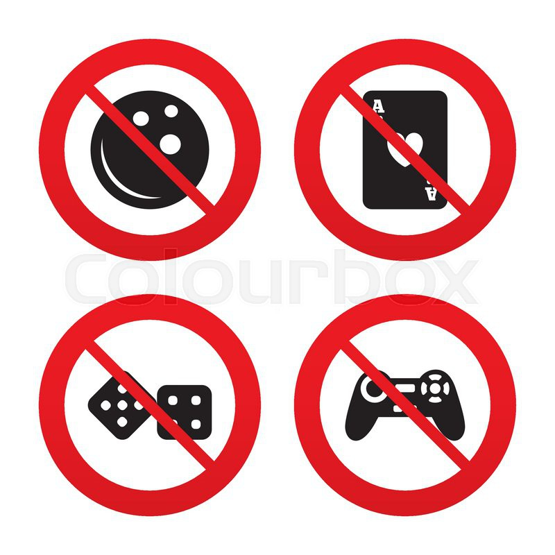 No Ban Or Stop Signs Bowling And Casino Icons Video Game Joystick