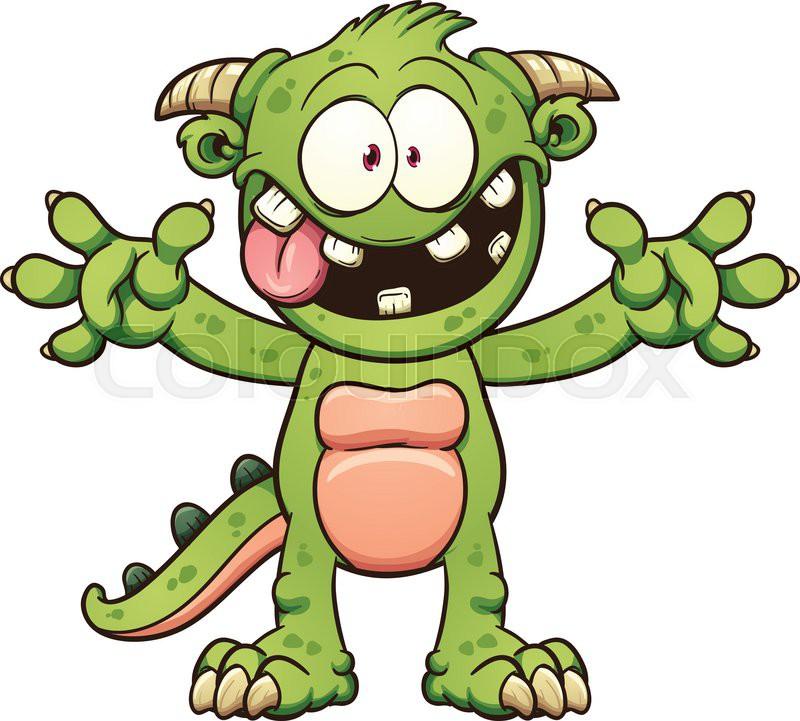 green cartoon monster vector clip art illustration with simple