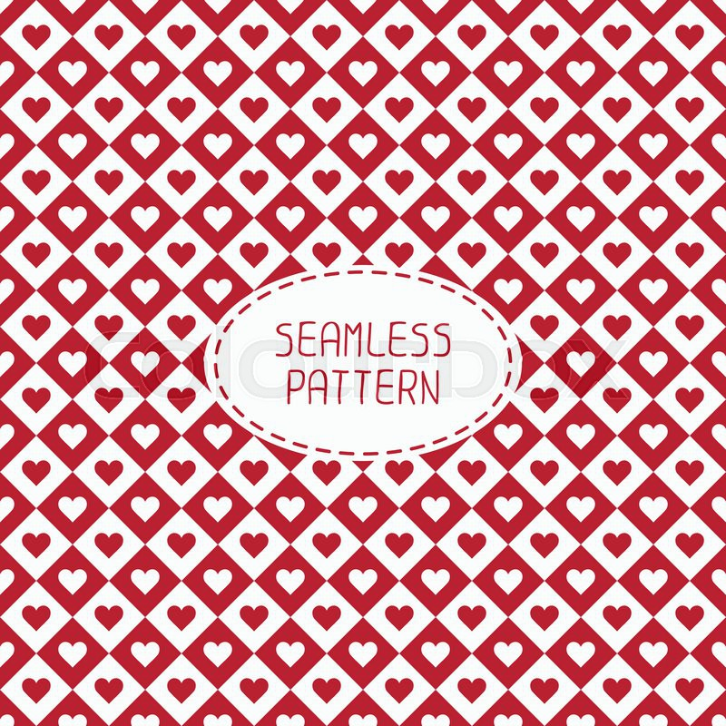 Red Romantic Wedding Geometric Seamless Pattern With Hearts