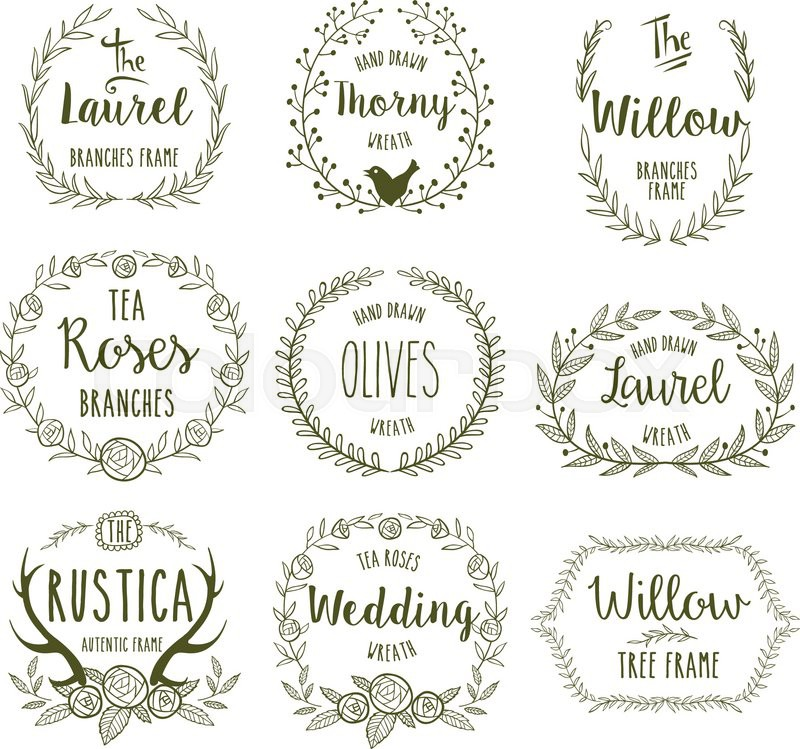 Hand Drawn Floral Frames In Rustic Style For Any Occasion Vector Illustration