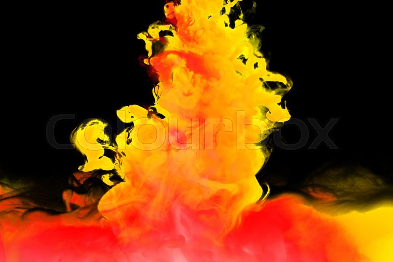 Inks in water, colorful abstraction, stock photo