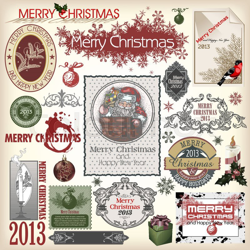 stock vector of set of vector christmas designs and vintage new year labels elements