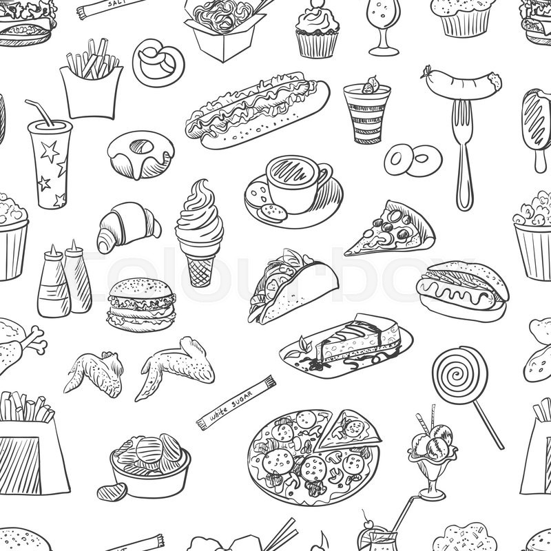 Hand Drawn Fast Food Pattern, Excellent Vector