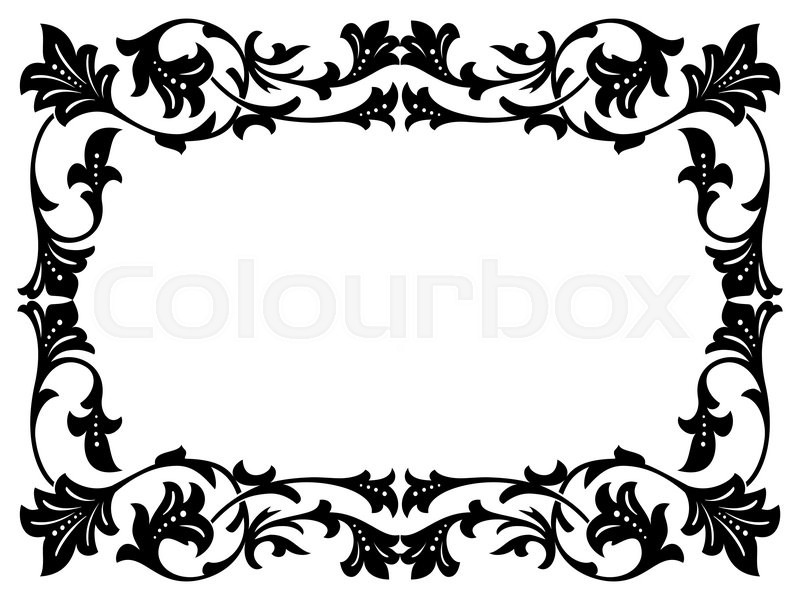 Calligraphy penmanship curly baroque frame black isolated | Stock ...