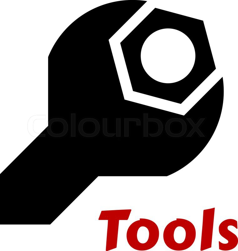 Black Silhouette Of A Spanner Or Wrench Tool Around