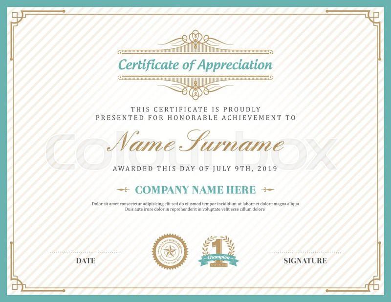 Vintage retro art deco frame certificate background design template ...