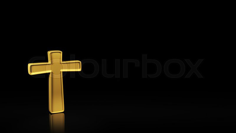 Gold Cross Symbol On Black Background With Reflection And Copyspace