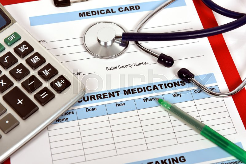 Clipboard with medical form and stethoscope, close up, stock photo