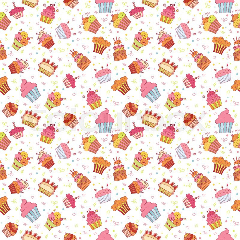 Cute seamless pattern with cupcakes Birthday party background