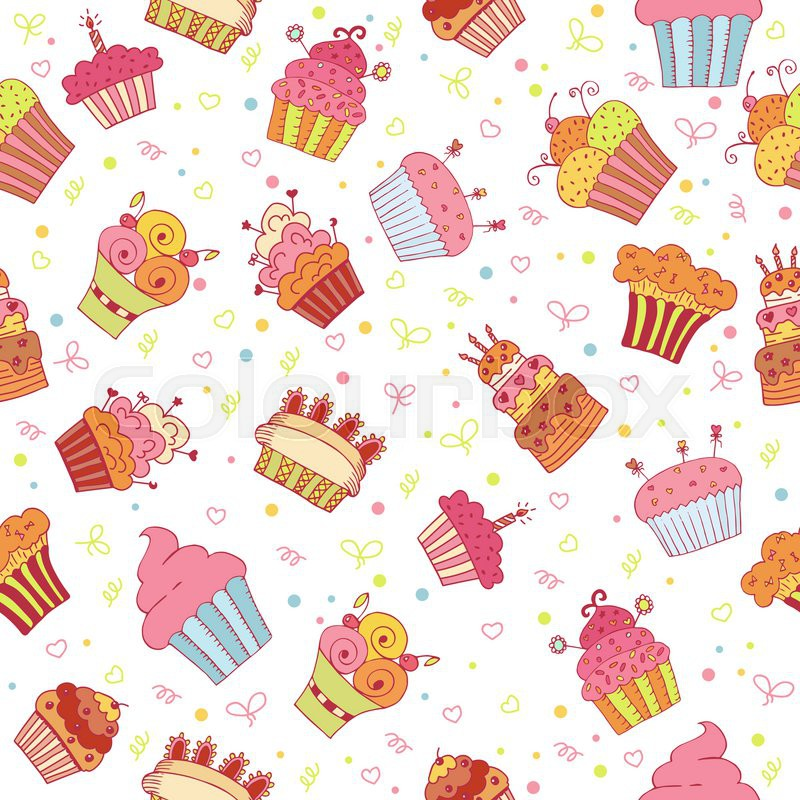 Seamless Pattern With Cupcakes. Birthday Party Background