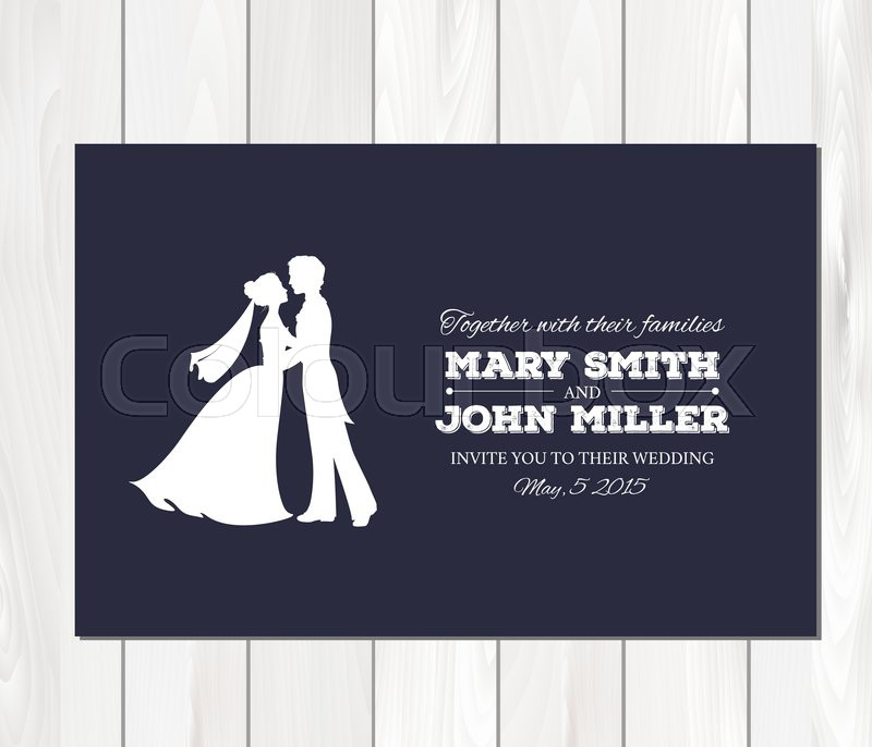 Wedding invitation with profile silhouettes of bride and groom. Card ...