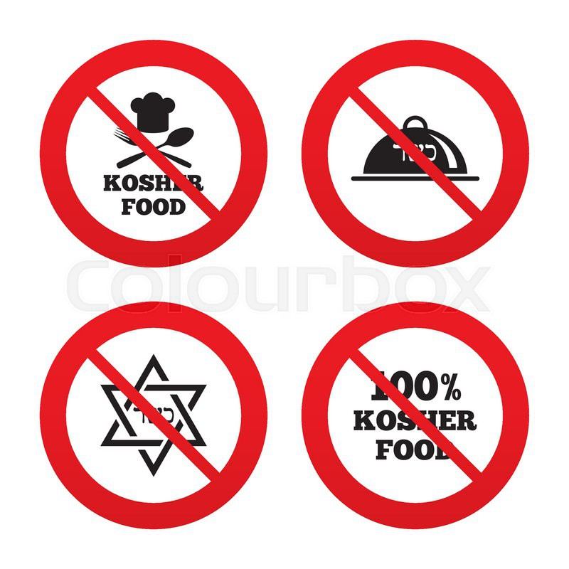 No Ban Or Stop Signs Kosher Food Product Icons Chef Hat With Fork