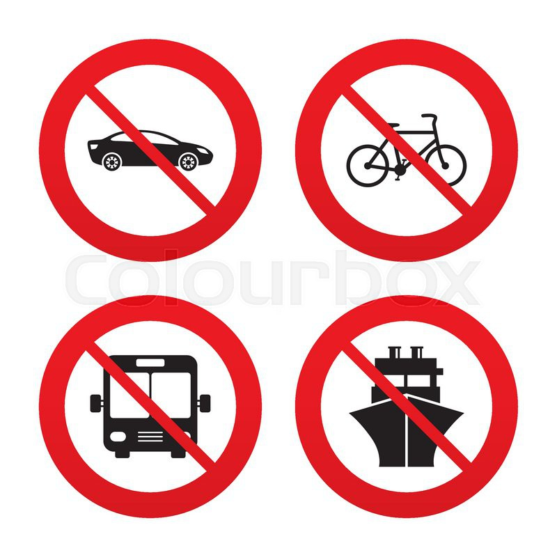 No Ban Or Stop Signs Transport Icons Car Bicycle Public Bus And