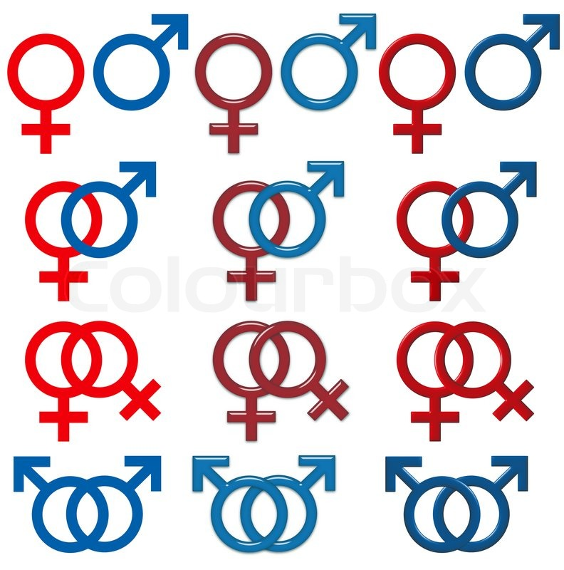 Female Male Symbol Isolated White Background Set 3d Effects