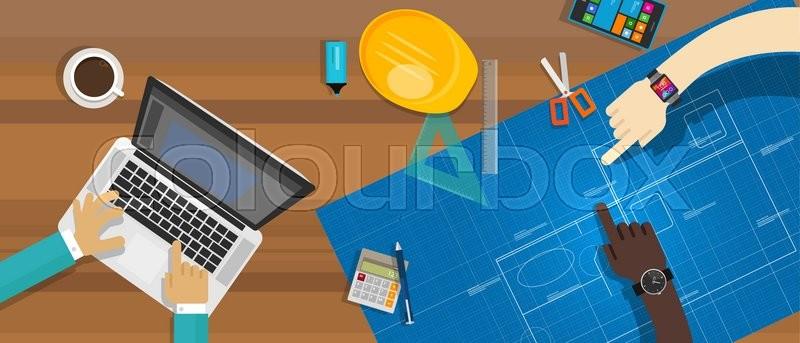 Architecture construction desk team work blueprint vector illustration, vector