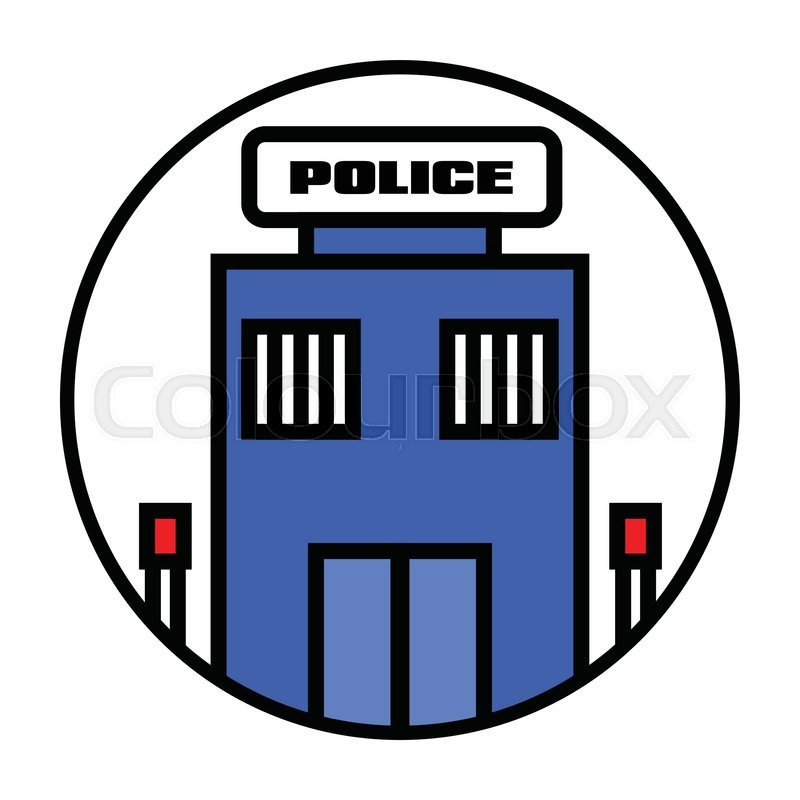 Flat Police Station Icon Vector Stock Vector Colourbox