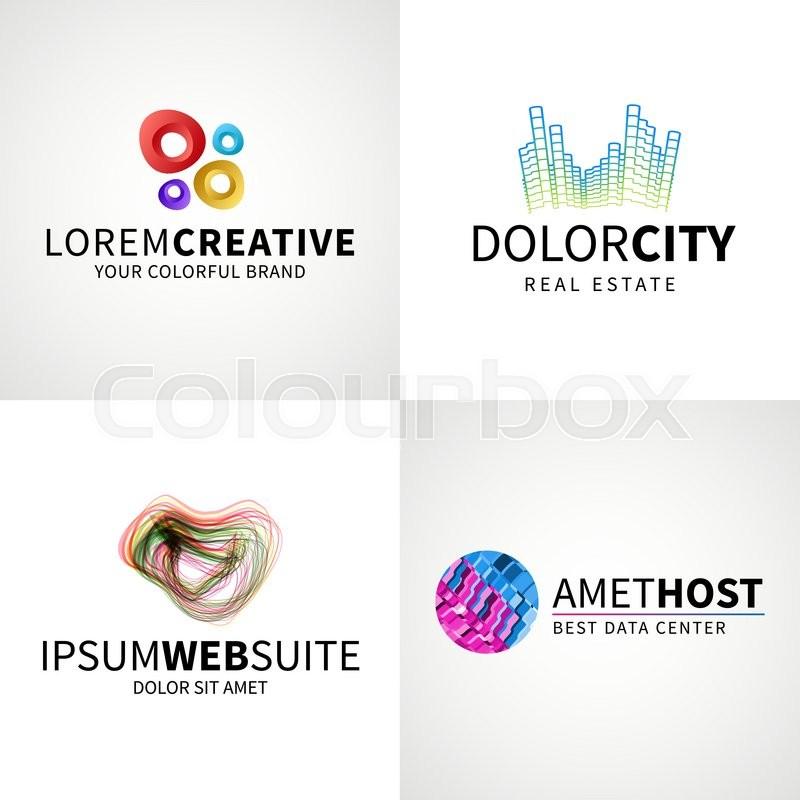 Set of modern colorful abstract creative web host data logo emblem ...