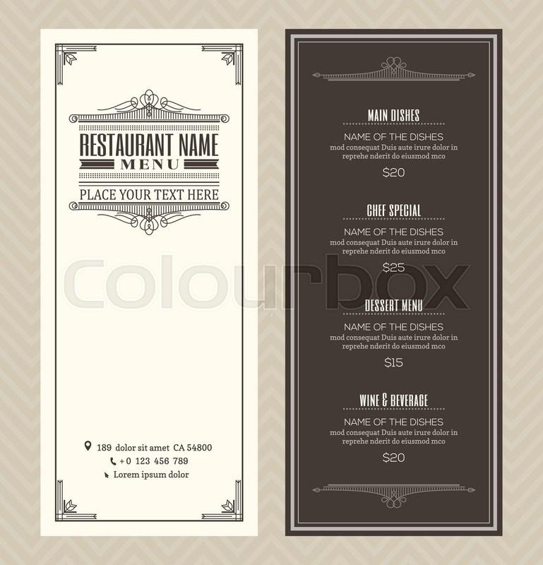 restaurant or cafe menu vector design